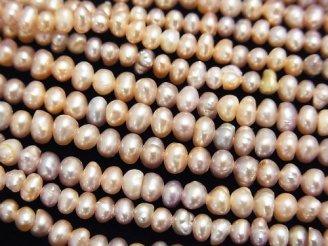 天然石卸 1連380円!淡水真珠AA ポテト3.5〜4mm クラシックピンク 1連(約37cm)