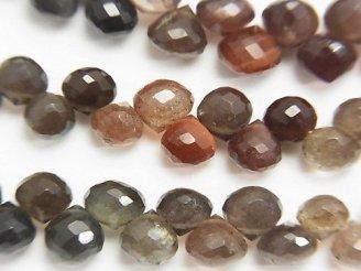 天然石卸 宝石質スキャポライトAAA オニオン ブリオレットカット 半連/1連(約20cm)