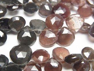 天然石卸 宝石質スキャポライトAAA マロン ブリオレットカット 半連/1連(約20cm)