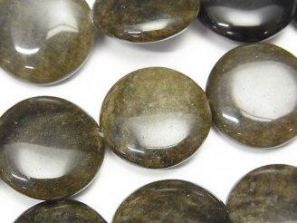 天然石卸 ゴールデンシャインオブシディアン コイン20×20×7mm 半連/1連(約38cm)