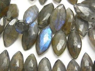 天然石卸 宝石質ラブラドライトAA++ マーキス ブリオレットカット 半連/1連(約18cm)