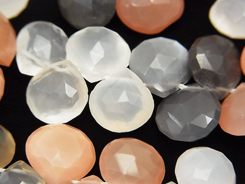 宝石質マルチカラームーンストーンAAA- マロン ブリオレットカット 半連/1連(約18cm)