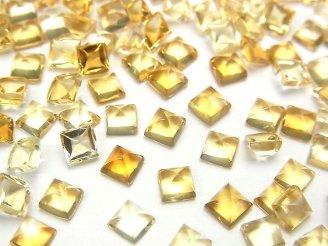 天然石卸 宝石質シトリンAAA スクエア型カボション4×4×2.5mm 10粒580円!