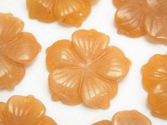 天然石卸 1枚280円!オレンジアベンチュリン フラワー(お花) 28×28×5mm1枚