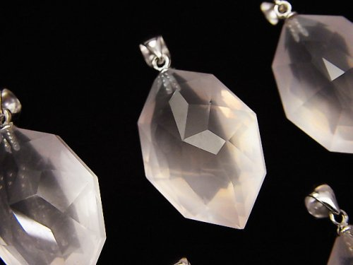 宝石質マダガスカル産ローズクォーツAAA 多面カット入りペンダントトップ 【S】【M】 SV925製