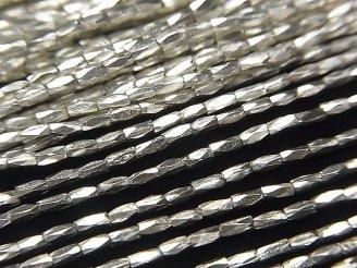 天然石卸 カレンシルバー タンブルカットビーズ3×1.2×1.2mm 半連/1連(約70cm)
