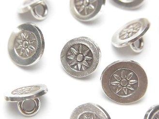 天然石卸 カレンシルバー 太陽の模様入りコイン型チャーム(コンチョ)10×10×6mm NO.2 1個240円!