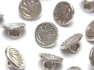 天然石卸 カレンシルバー チューリップ模様入りコイン型チャーム(コンチョ)11×11×6mm 1個240円!