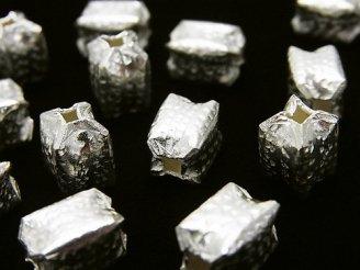 天然石卸 カレンシルバー 打痕模様入り レクタングルチューブ10×7×7mm ホワイトシルバー 2個580円!