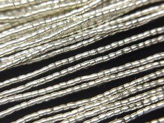 天然石卸 カレンシルバー チューブ1.3×1.3×1.3mm  半連/1連(約66cm)