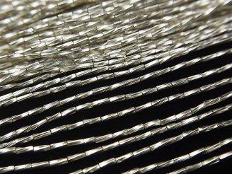 天然石卸 カレンシルバー ツイストチューブ3×1×1mm ホワイトシルバー 半連/1連(約68cm)