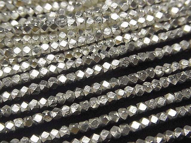 カレンシルバー キューブカット2.5×2.5×2.5mm ホワイトシルバー 1/8連〜1連(約64cm)