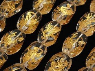 天然石卸 金色!四神獣の彫刻入り!クリスタルAAA ツイストライスカット 【18×13】【20×15】 1/4連〜1連