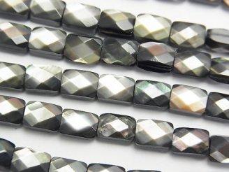 天然石卸 高品質ブラックシェル(黒蝶貝) レクタングルカット7×5×4mm 半連/1連(約38cm)