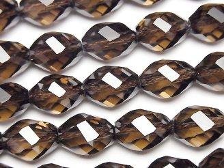 天然石卸 素晴らしい輝き!スモーキークォーツAAA 6面ツイスト×多面ライスカット14×10×10mm 1/4連〜1連(約37cm)