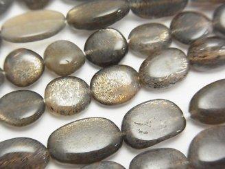 天然石卸 宝石質シルバーゴールドシャインムーンストーンAAA- オーバル〜タンブル 【Sサイズ】 半連/1連(約37cm)