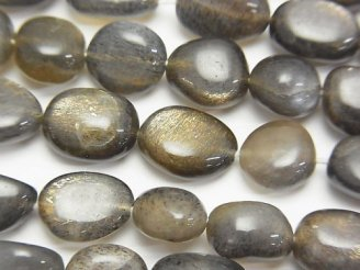 天然石卸 宝石質シルバーゴールドシャインムーンストーンAAA- オーバル〜タンブル 【Mサイズ】 半連/1連(約37cm)
