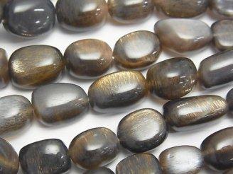 天然石卸 宝石質シルバーゴールドシャインムーンストーンAAA- オーバル〜タンブル 【Lサイズ】 半連/1連(約37cm)