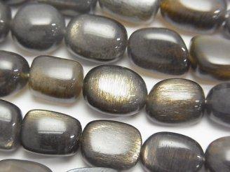天然石卸 宝石質シルバーゴールドシャインムーンストーンAAA- オーバル〜タンブル 【LLサイズ】 半連/1連(約37cm)
