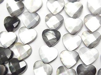 天然石卸 ブラックシェル(黒蝶貝) 縦穴ハートカット10×10×5mm 半連/1連(約38cm)