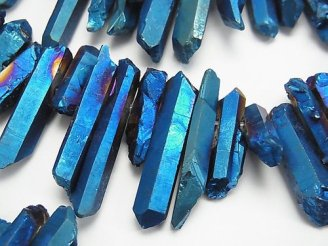 天然石卸 1連1,180円!クリスタル 氷柱カット メタリック コーティング ブルー系 1連(約38cm)