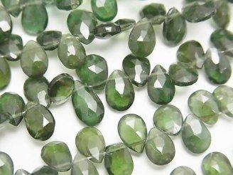 天然石卸 宝石質グリーンアパタイトAAA ペアシェイプ ブリオレットカット 半連/1連(約18cm)