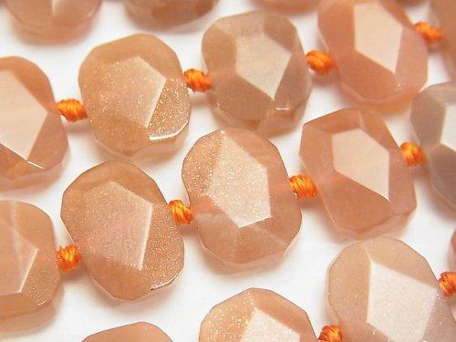 オレンジムーンストーンAA+ フラットタンブルカット 半連/1連(約37cm)