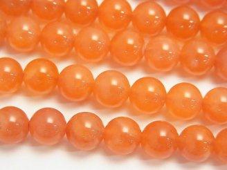 天然石卸 ボツワナ産オレンジカルセドニーAAA- ラウンド8mm 半連/1連(約38cm)