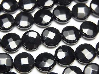 天然石卸 オニキス コインカット8×8×4mm 半連/1連(約36cm)
