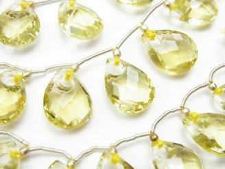 天然石卸 1連4,480円!宝石質レモンクォーツAAA ドーナツ型ペアシェイプカット 1連(7粒)
