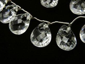 天然石卸 1連4,480円!宝石質クリスタルAAA ドーナツ型ペアシェイプカット 1連(7粒)