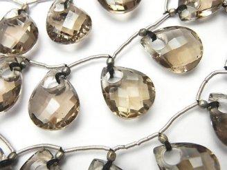 天然石卸 1連4,480円!宝石質スモーキークォーツAAA ドーナツ型ペアシェイプカット 1連(7粒)