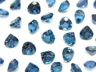 天然石卸 宝石質ロンドンブルートパーズAAA 穴なしマロンファセットカット5×5mm 5粒1,580円!