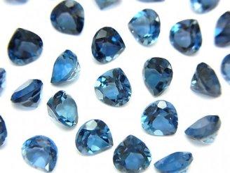 天然石卸 宝石質ロンドンブルートパーズAAA 穴なしマロンファセットカット6×6mm 5粒2,480円!
