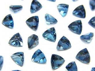 天然石卸 宝石質ロンドンブルートパーズAAA 穴なしトライアングルファセットカット5×5mm 5粒1,480円!