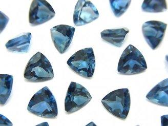 天然石卸 宝石質ロンドンブルートパーズAAA 穴なしトライアングルファセットカット6×6mm 5粒2,380円!