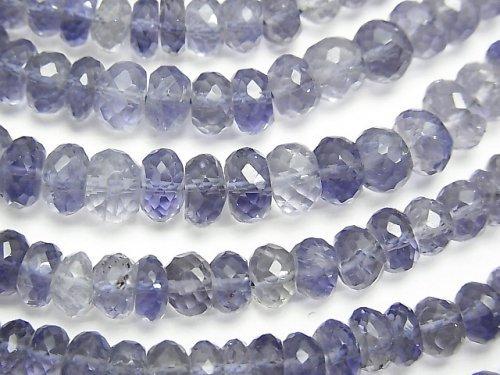 宝石質アイオライトAAA ボタンカット 【M〜Lサイズ】 半連/1連(約32cm)