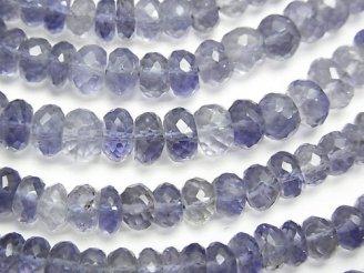 天然石卸 宝石質アイオライトAAA ボタンカット 【M〜Lサイズ】 半連/1連(約32cm)