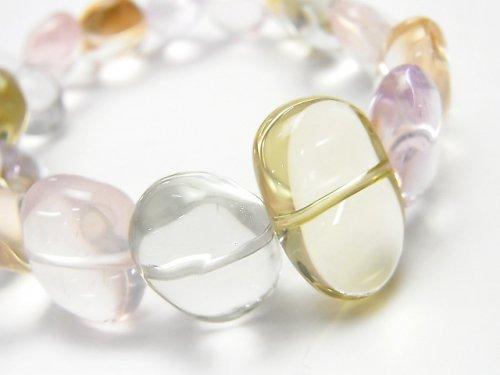【1点もの】宝石質いろんな天然石AAA- タンブル 1連(ブレス) NO.15
