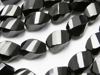 天然石卸 オニキス ライス4面ツイスト×多面カット12×8×8mm 半連/1連(約36cm)