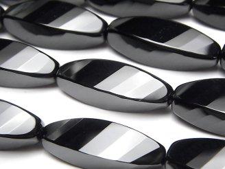 天然石卸 オニキス ライス4面ツイスト×多面カット30×10×10mm 半連/1連(約32cm)