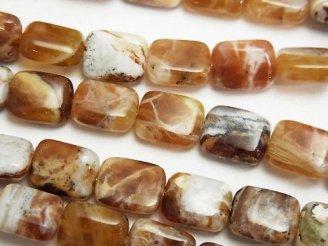 天然石卸 ブランデーオパール レクタングル10×8×4mm 半連/1連(約38cm)