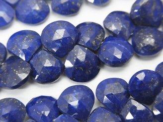 天然石卸 宝石質ラピスラズリAAA- マロン ブリオレットカット 半連/1連(約18cm)