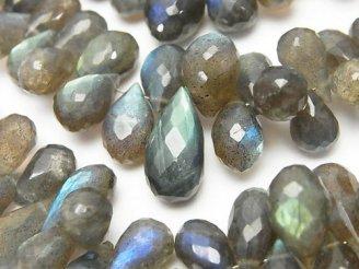 天然石卸 宝石質ラブラドライトAAA- ドロップ ブリオレットカット 半連/1連(約19cm)