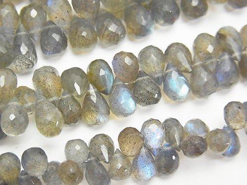 宝石質ブルーラブラドライトAAA ドロップ ブリオレットカット 半連/1連(約18cm)