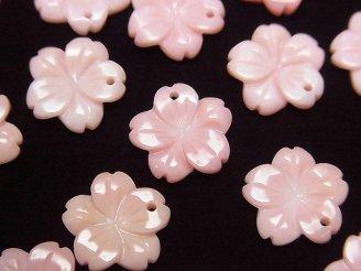 天然石卸 クィーンコンクシェルAAA フラワー(桜)彫刻 12mm トップ穴 2個540円!