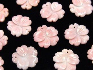 天然石卸 クィーンコンクシェルAAA〜AAA- フラワー(桜)彫刻 15mm トップ穴 2個640円!