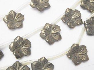 天然石卸 ゴールデンパイライト フラワー(お花) 15×15×3mm 半連/1連(約38cm)