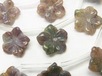 天然石卸 ファンシージャスパー フラワー(お花) 15×15×3mm 半連/1連(約38cm)