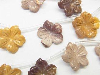 天然石卸 ムーアカイト フラワー(お花) 15×15×3mm 半連/1連(約38cm)
